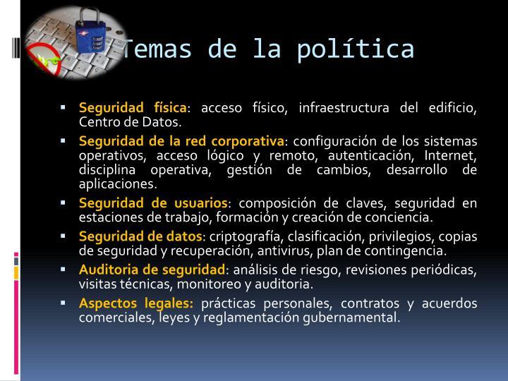 Temas de la política