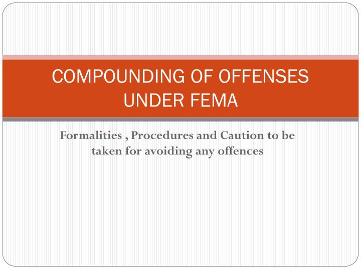 compounding of offenses under fema n.