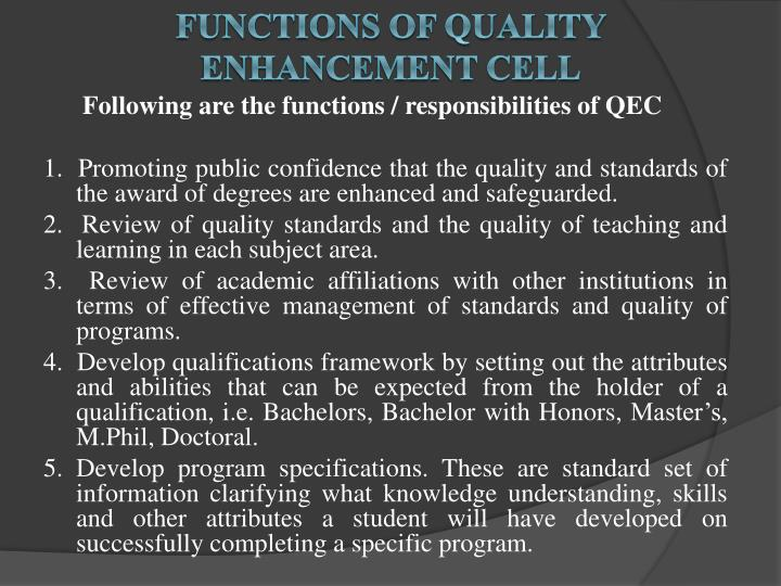 FUNCTIONS OF Quality Enhancement Cell