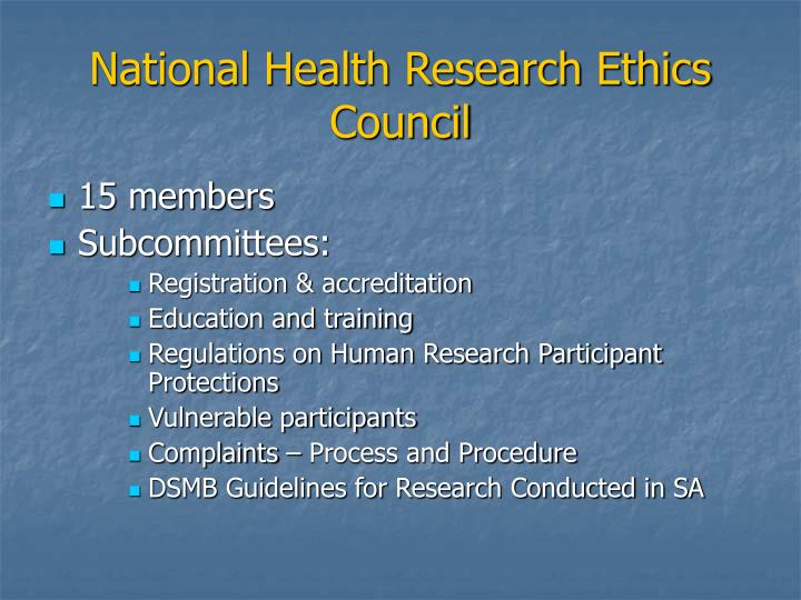 National Health Research Ethics Council