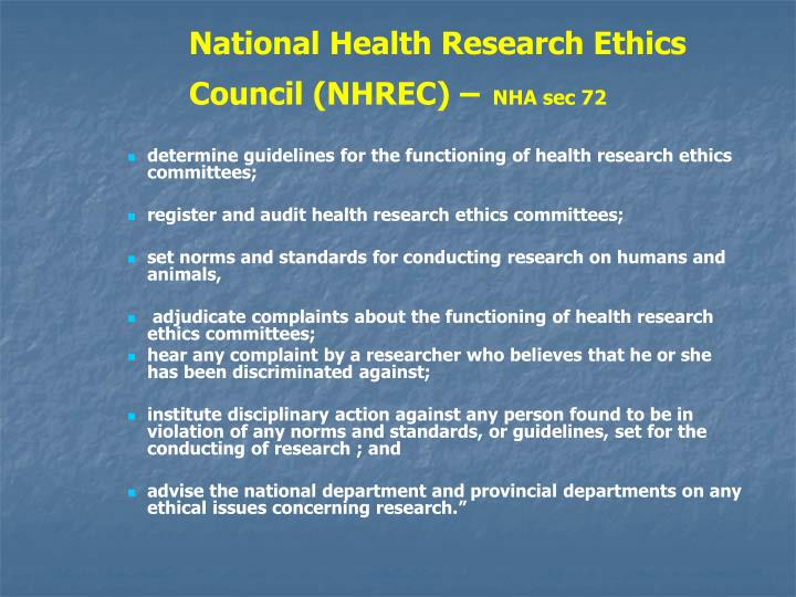 National Health Research Ethics Council (NHREC) –