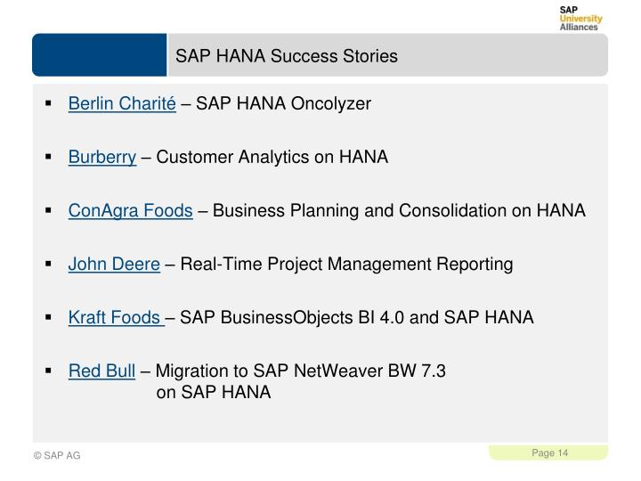 SAP HANA Success Stories