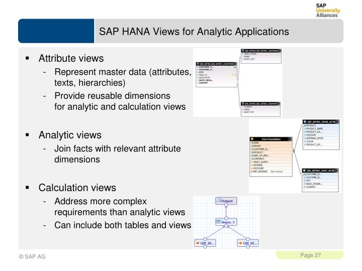 SAP HANA Views for Analytic Applications