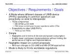 objectives requirements goals