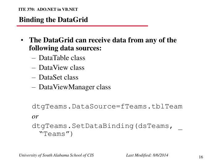 Binding the DataGrid
