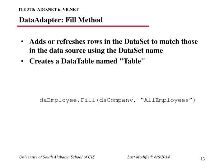 DataAdapter: Fill Method