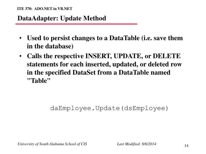 DataAdapter: Update Method