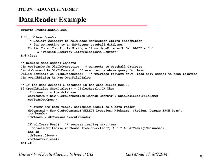 DataReader Example