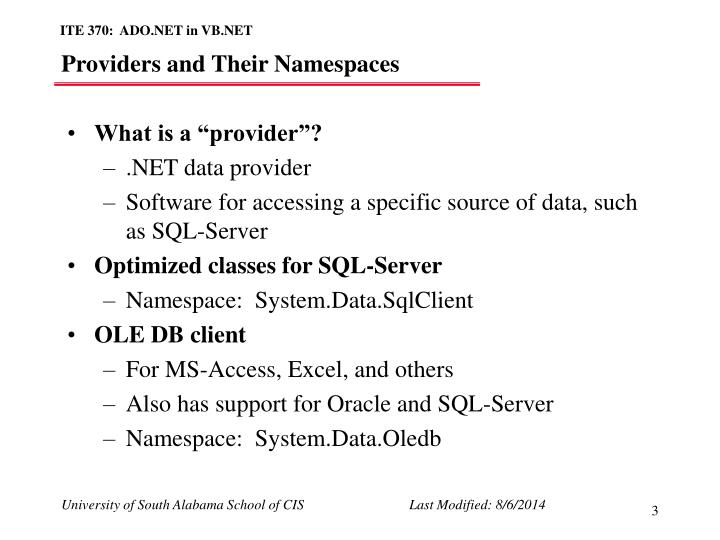 Providers and their namespaces