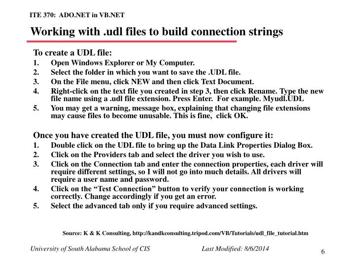 Working with .udl files to build connection strings