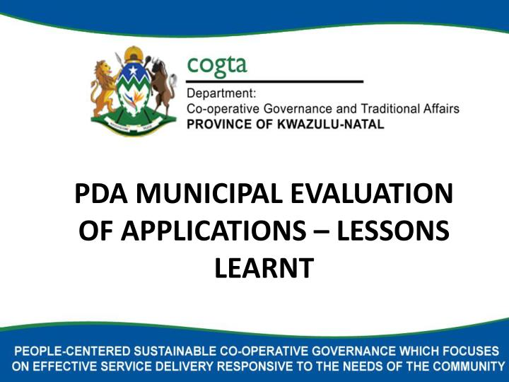 pda municipal evaluation of applications lessons learnt n.