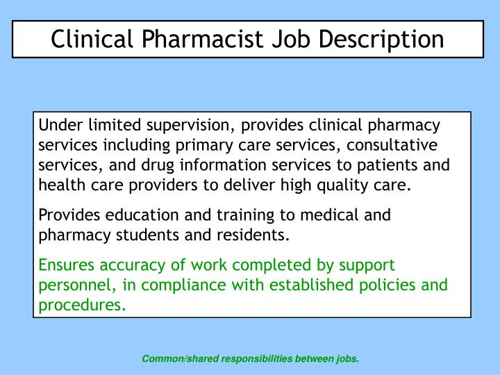 clinical pharmacist job description