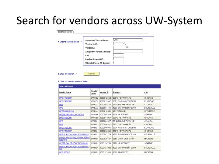 Search for vendors across UW-System
