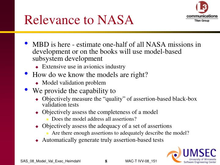 Relevance to NASA