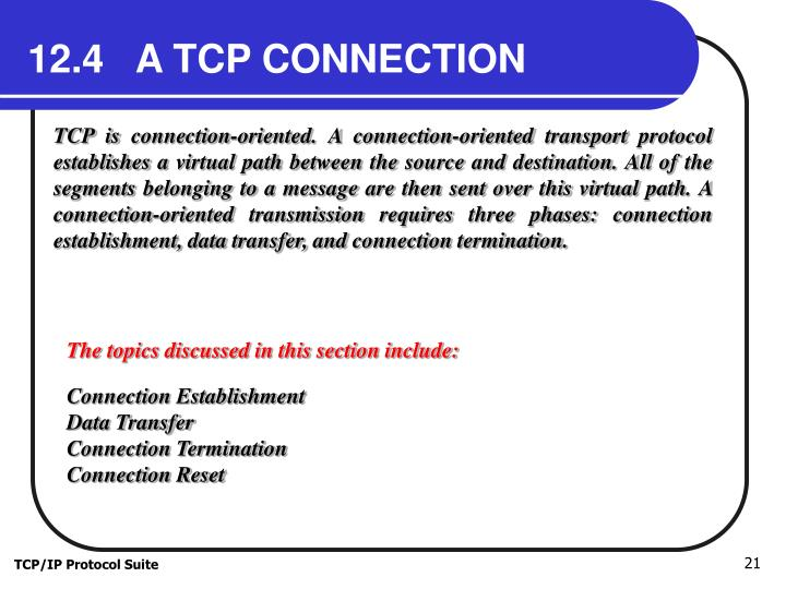 12.4   A TCP CONNECTION
