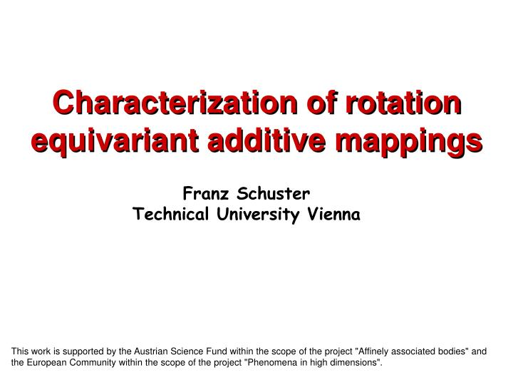 characterization of rotation equivariant additive mappings n.