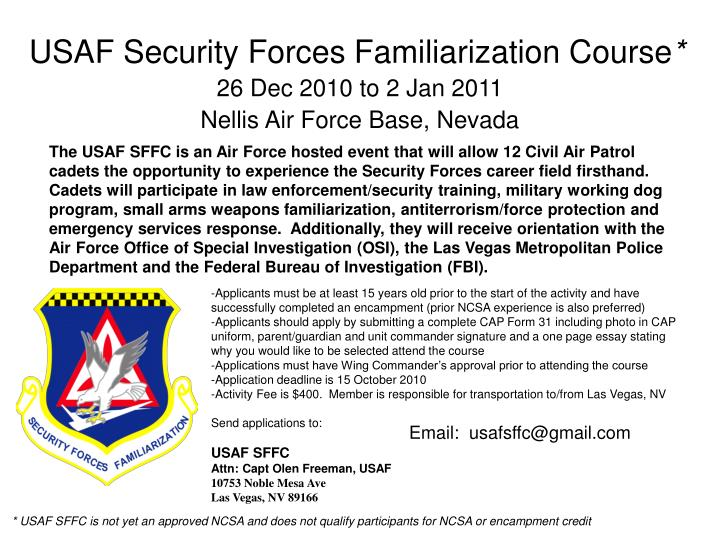 PPT - USAF Security Forces Familiarization Course