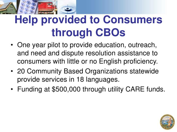 Help provided to Consumers through CBOs