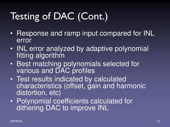 Testing of DAC (Cont.)