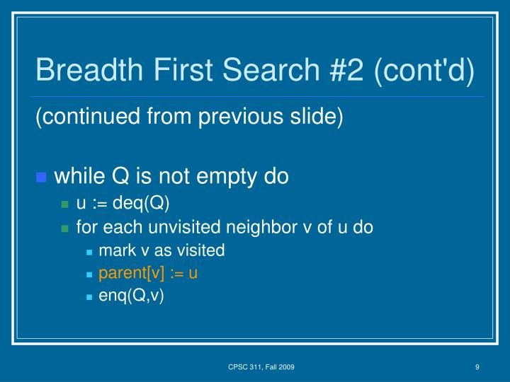 Breadth First Search #2 (cont'd)