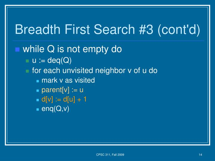 Breadth First Search #3 (cont'd)