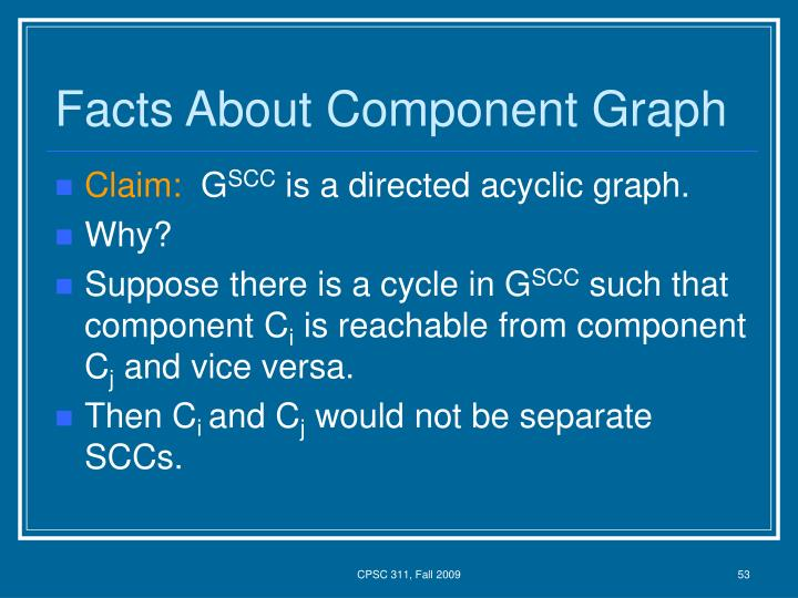 Facts About Component Graph