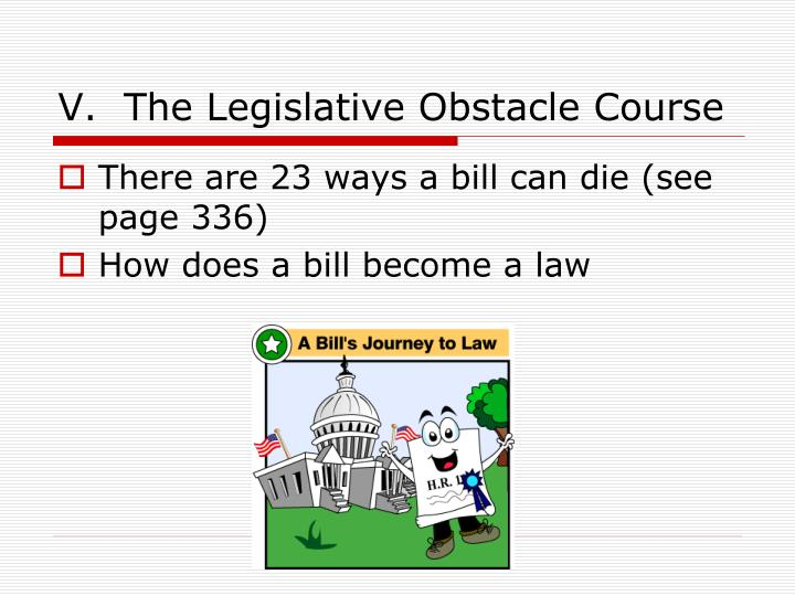 V.  The Legislative Obstacle Course