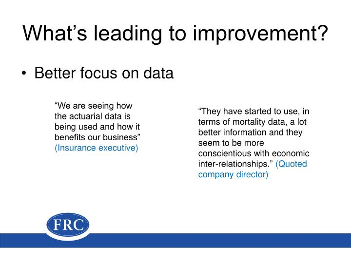 What's leading to improvement?