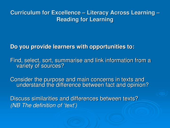 Curriculum for Excellence – Literacy Across Learning – Reading for Learning