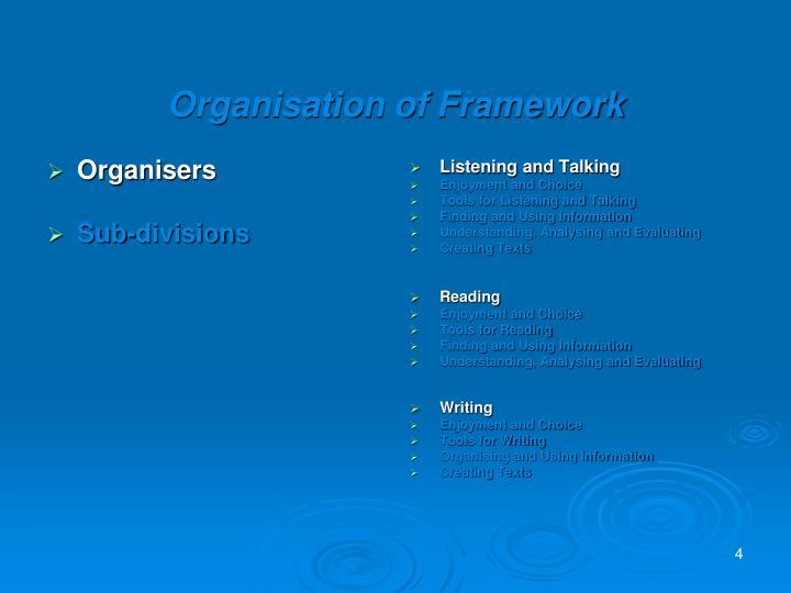 Organisation of Framework