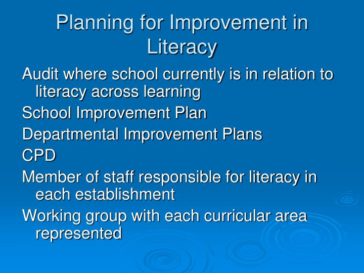 Planning for Improvement in Literacy