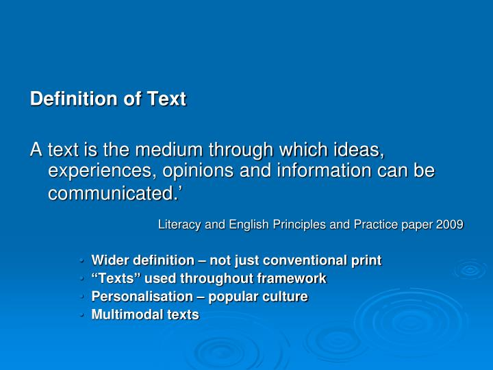 Definition of Text