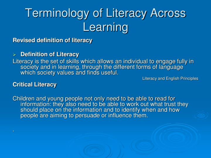 Terminology of Literacy Across Learning