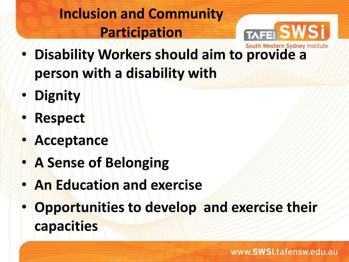 Inclusion and Community Participation