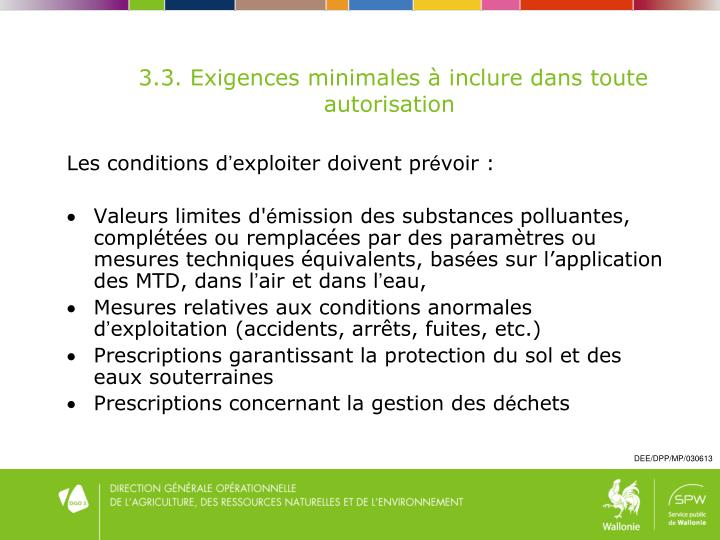 Les conditions