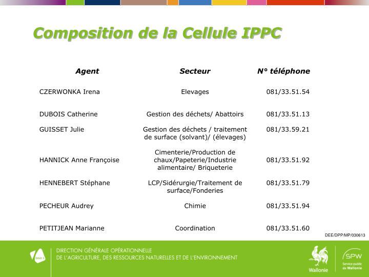 Composition de la Cellule IPPC
