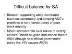 difficult balance for sa