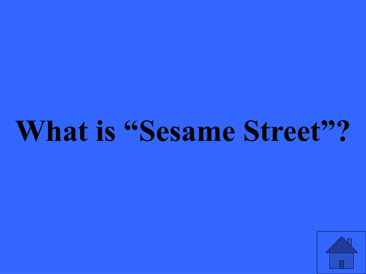 """What is """"Sesame Street""""?"""
