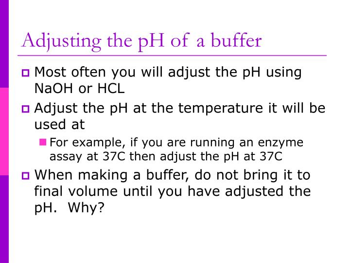 Adjusting the pH of a buffer