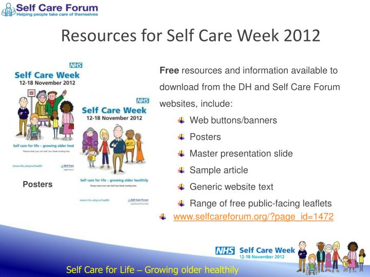 Resources for Self Care Week 2012