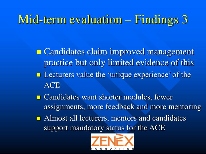 Mid-term evaluation – Findings 3