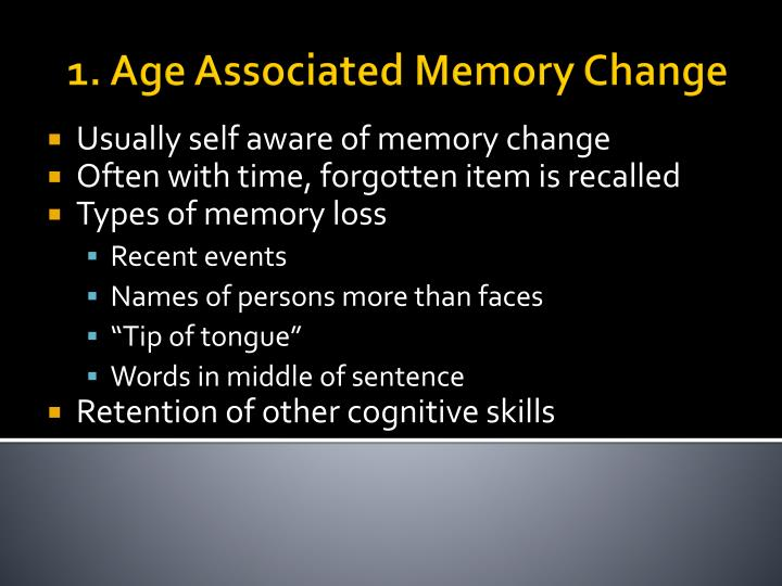 1. Age Associated Memory Change