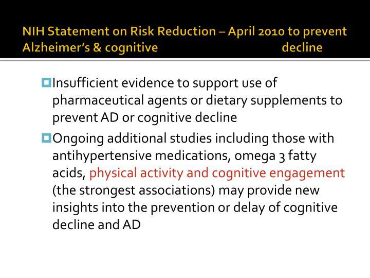 NIH Statement on Risk Reduction – April 2010 to prevent Alzheimer's & cognitive decline