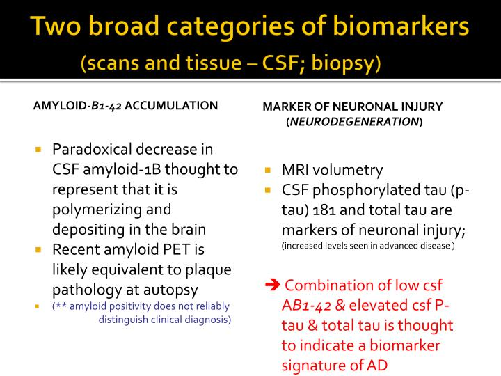 Two broad categories of biomarkers