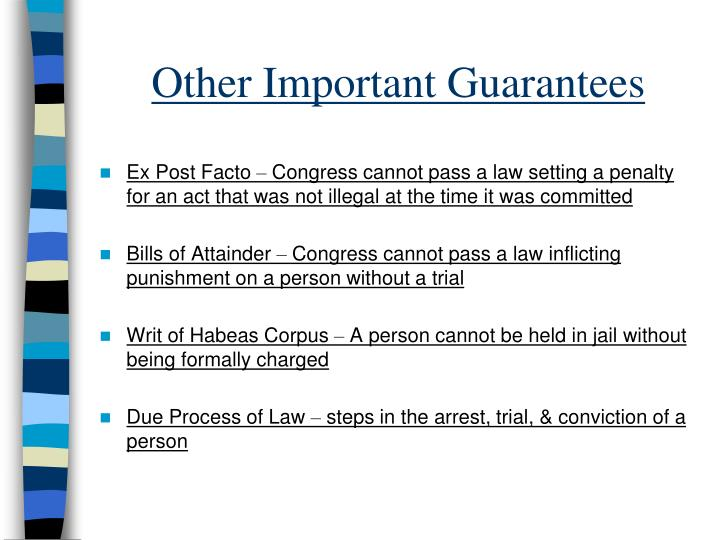 Other Important Guarantees