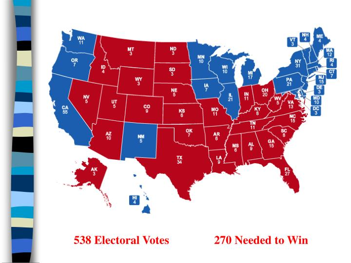 538 Electoral Votes270 Needed to Win