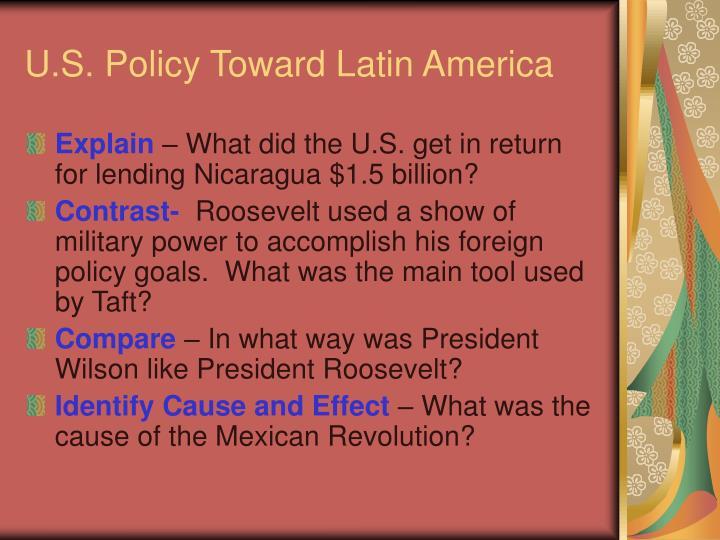 U.S. Policy Toward Latin America