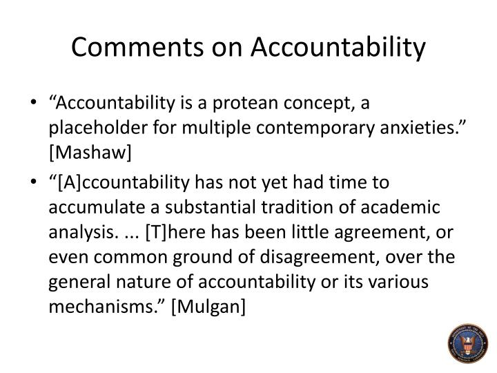Comments on Accountability