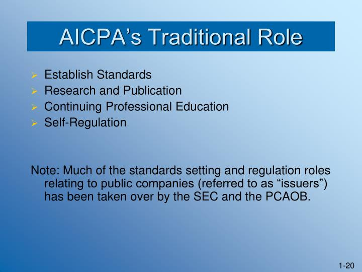 AICPA's Traditional Role