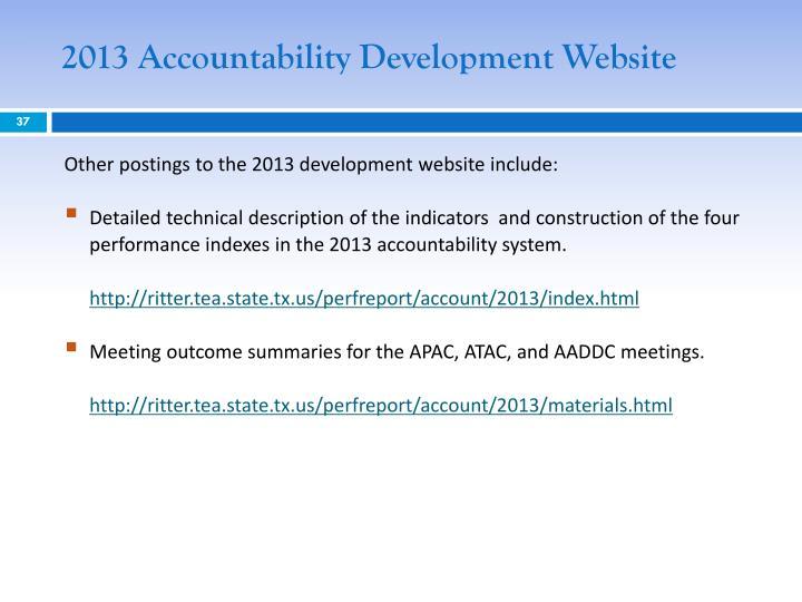 2013 Accountability Development Website